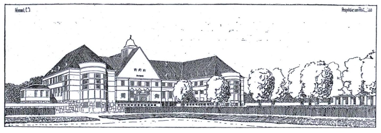 Zeichnung eines dreischiffigen Baus mit kräftigen Walmdächern.