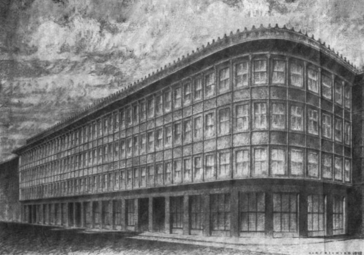 Zeichnung eines rund um eine Ecke geführten viergeschossigen Gebäudes mit sehr gleichartiger Vertikalgliederung und sehr starker Durchfensterung.