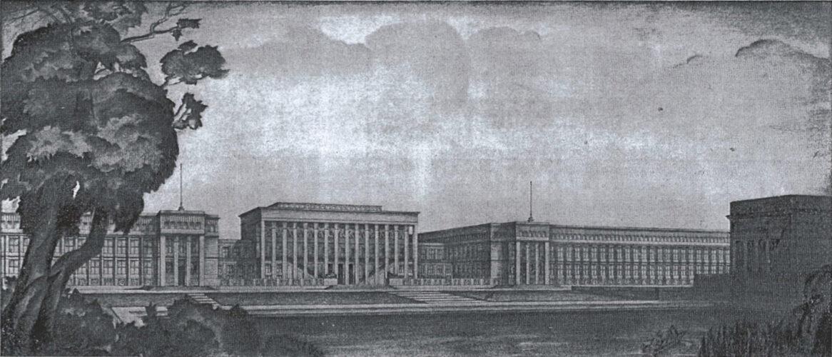 Drei durch niedrigere Brückenbauten aneinandergereihte zwei- bis dreigeschossige Bauten mit flachem Dach und klassizistischer Gliederung mit Kolossal-Kolonnaden.