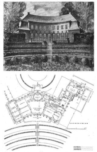 Auffällig konkov gebogenes zweistöckiges Wohnhaus mit Mansarddach, davor terrassierter geschwungener Gartenbereich.