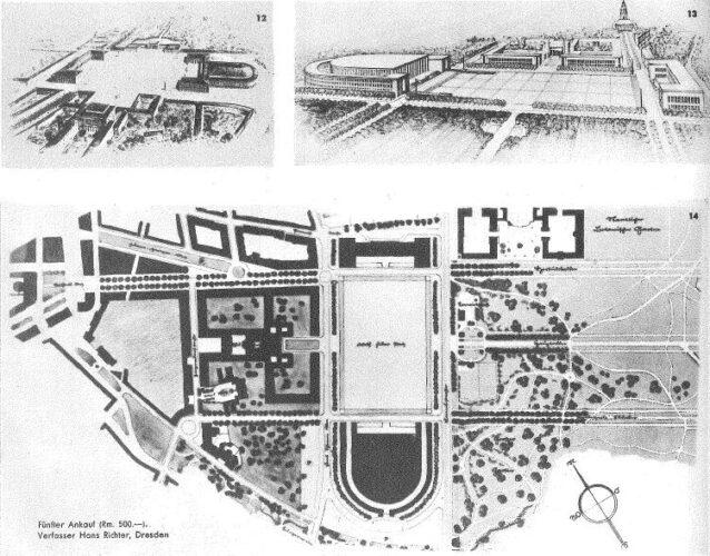 Lageplan und zwei Vogelperspektiven zum Entwurf mit großer Halle und umlaufendem Schmalbau sowie weiteren Gebäuden an einem großen Platz.