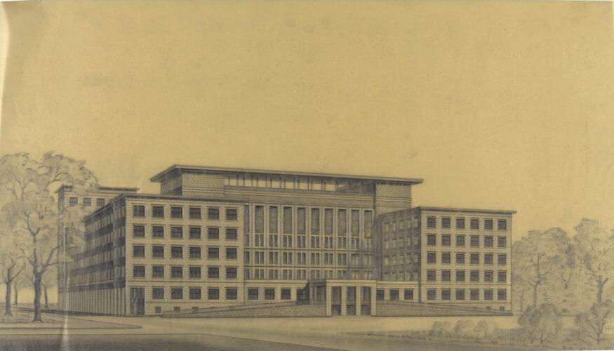 In der Perspektive ist ein mehrgeschossiger Bau aus zwei parallel verlaufenden Seitentrakten mit zurückgesetztem Querriegel erkennbar.
