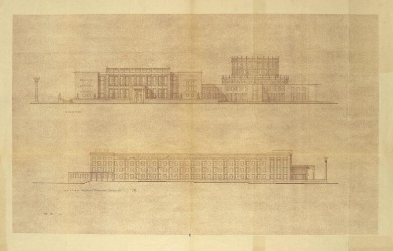 Zwei Ansichten veranschaulichen eine augruppe mit höherem Rundbau in Anlehnung an de semperoper sowie einen langgestreckten, schlichter gestalteten Bau mit kleiner Kuppel.