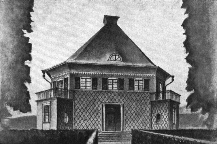 Černobílá ilustrace zobrazuje celý dům mírně z levé strany s charakteristickou stanovou střechou a arkýři vyčnívajícími zprava a zleva. V přízemí jsou stěny pokryty mřížemi na popínavé rostliny.