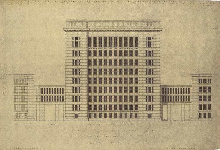 Der Bau wirkt wie ein breit gelagertes, streng gegliedertes Hochhaus mit deutlicher Rustizierung und stark gegliedertem Attikaabschluß.
